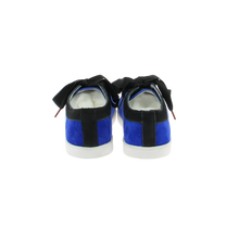Load image into Gallery viewer, blue velvet sneakers with black nubuck collar and black satin laces - back view