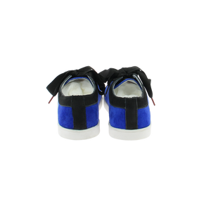 blue velvet sneakers with black nubuck collar and black satin laces - back view