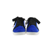 Load image into Gallery viewer, blue velvet sneakers with black nubuck collar and black satin laces  - front view