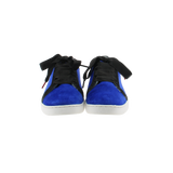 blue velvet sneakers with black nubuck collar and black satin laces  - front view