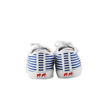 Load image into Gallery viewer, White and blue striped canvas sneakers, white vulcanized natural gum sole and white cotton laces. Twins for Peace logo on the sole back - back view