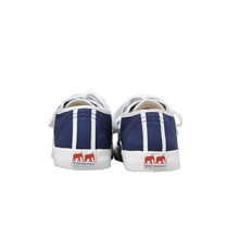Load image into Gallery viewer, Blue canvas sneakers with white outlines, white vulcanized natural gum sole and white cotton laces. Twins for Peace logo on the back of the sole - back view