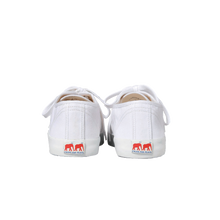 Load image into Gallery viewer, White canvas sneakers with white vulcanized natural gum sole and white cotton laces. Twins for Peace logo on the back of the sole - back view
