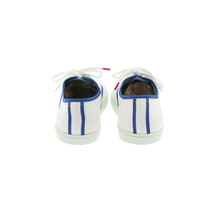 Load image into Gallery viewer, White canvas sneakers with blue outlines, white natural gum sole and white cotton laces - back view