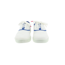 Load image into Gallery viewer, White canvas sneakers with blue outlines, white natural gum sole and white cotton laces - front view