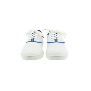White canvas sneakers with blue outlines, white natural gum sole and white cotton laces - front view