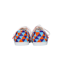 Load image into Gallery viewer, handmade embroidered orange, blue and light blue beads women sneakers with leather lining and white laces - back view