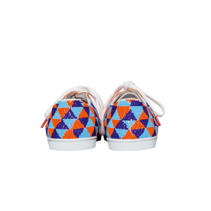 handmade embroidered orange, blue and light blue beads women sneakers with leather lining and white laces - back view