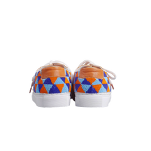 Load image into Gallery viewer, handmade embroidered orange, blue and light blue beads men sneakers with leather lining and white laces - back view