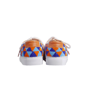handmade embroidered orange, blue and light blue beads men sneakers with leather lining and white laces - back view