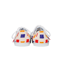 Load image into Gallery viewer, handmade embroidered white, blue, red and yellow beads women sneakers with leather lining and white laces - back view