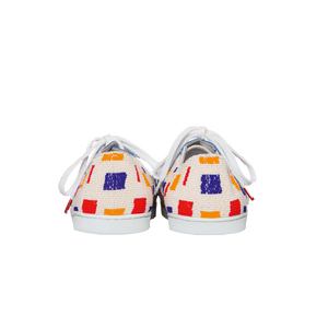 handmade embroidered white, blue, red and yellow beads women sneakers with leather lining and white laces - back view