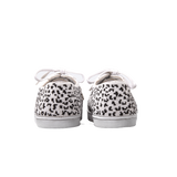 handmade embroidered white and black beads women sneakers with a leopard pattern, leather lining and white laces - back view