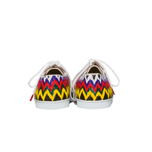 Load image into Gallery viewer, Handmade embroidered multicolor beads women sneakers with a zigzag pattern, leather lining and white cotton laces - back view