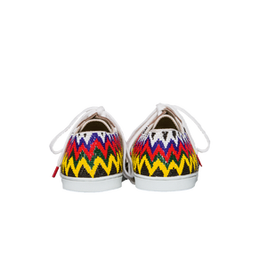 Handmade embroidered multicolor beads women sneakers with a zigzag pattern, leather lining and white cotton laces - back view