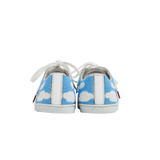 handmade embroidered light blue and white beads women sneakers with a pattern inspired from the painter René Magritte, leather lining and white laces - back view