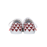 Handmade embroidered burgundy and white beads women sneakers with an ethnic and geometric pattern, leather lining, natural gum sole and white cotton laces - back view
