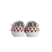 Load image into Gallery viewer, Handmade embroidered burgundy and white beads men sneakers with an ethnic and geometric pattern, leather lining, natural gum sole and white cotton laces - back view
