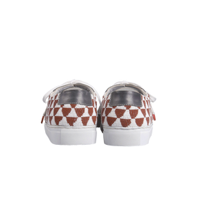 Handmade embroidered burgundy and white beads men sneakers with an ethnic and geometric pattern, leather lining, natural gum sole and white cotton laces - back view