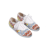 Handmade embroidered multicolor beads women sneakers with an abstract pattern inspired from retro video games, white natural gum sole, leather lining and white cotton laces - three quarter view