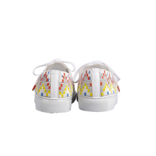 Load image into Gallery viewer, Handmade embroidered multicolor beads men sneakers with an abstract pattern inspired from retro video games, white natural gum sole, leather lining and white cotton laces - back view