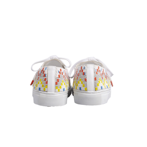 Handmade embroidered multicolor beads men sneakers with an abstract pattern inspired from retro video games, white natural gum sole, leather lining and white cotton laces - back view