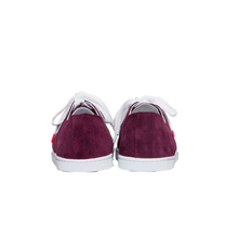 Load image into Gallery viewer, burgundy suede sneakers with white natural gum sole and white cotton laces - back view