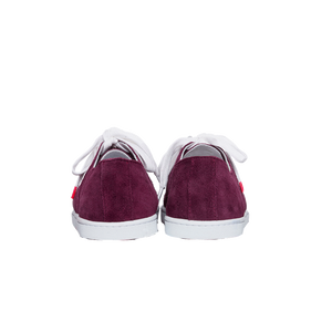 burgundy suede sneakers with white natural gum sole and white cotton laces - back view