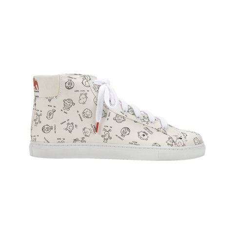 Mr. Men Little Miss Alex High Top Black&White - PRINTED CANVAS SNEAKERS