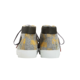High Top women sneakers in grey wool with yellow stipes tartan way and the emblematic cat face from Paul & Joe Sister on the rear part of each shoe - back view
