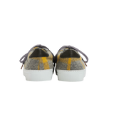 Women sneakers in grey wool with yellow stipes tartan way and the emblematic cat face from Paul & Joe Sister on the front part of each shoe - back view