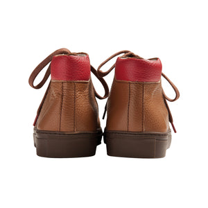 brown brushable grained leather high top sneakers with red leather back and brown cotton laces - back view