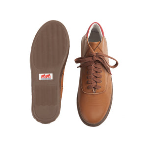 brown brushable grained leather high top sneakers with red leather back and brown cotton laces - sole and top views
