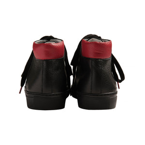 black brushable grained leather high top sneakers with red leather back and black cotton laces - back view