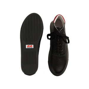 black brushable grained leather high top sneakers with red leather back and black cotton laces - sole and top views