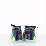 Women satin sneakers with blue, green and red printed pattern inspired from Brazilian flowers. Patent leather blue shoe collar, leather lining, white natural gum sole and blue satin laces - back view