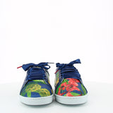 Women satin sneakers with blue, green and red printed pattern inspired from Brazilian flowers. Patent leather blue shoe collar, leather lining, white natural gum sole and blue satin laces - front view
