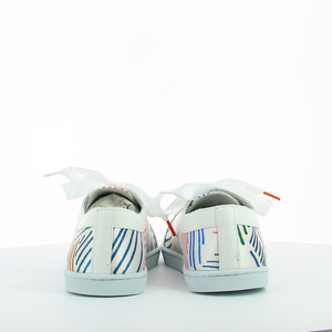 Women sneakers in white satin printed with multicolor stripes, white leather shoe collar, leather lining, white natural gum sole and white satin laces - rear view
