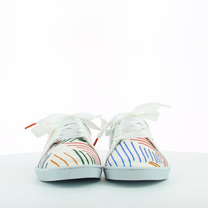 Women sneakers in white satin printed with multicolor stripes, white leather shoe collar, leather lining, white natural gum sole and white satin laces - front view