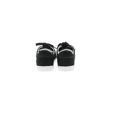 Load image into Gallery viewer, dark gray wool sneakers with white natural gum sole and dark gray cotton laces - back view