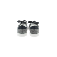 Load image into Gallery viewer, gray wool sneakers with white natural gum sole and gray cotton laces - back view