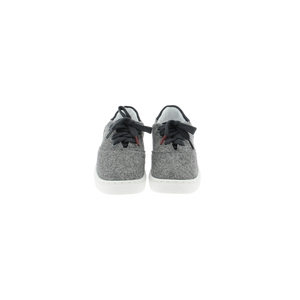 gray wool sneakers with white natural gum sole and gray cotton laces - front view