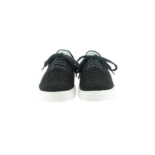 Load image into Gallery viewer, dark gray wool sneakers with white natural gum sole and dark gray cotton laces - front view