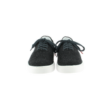 dark gray wool sneakers with white natural gum sole and dark gray cotton laces - front view
