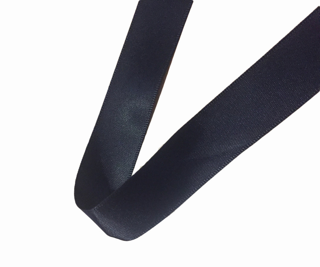 23mm Plain Black Double Sided Satin Ribbon- 1m