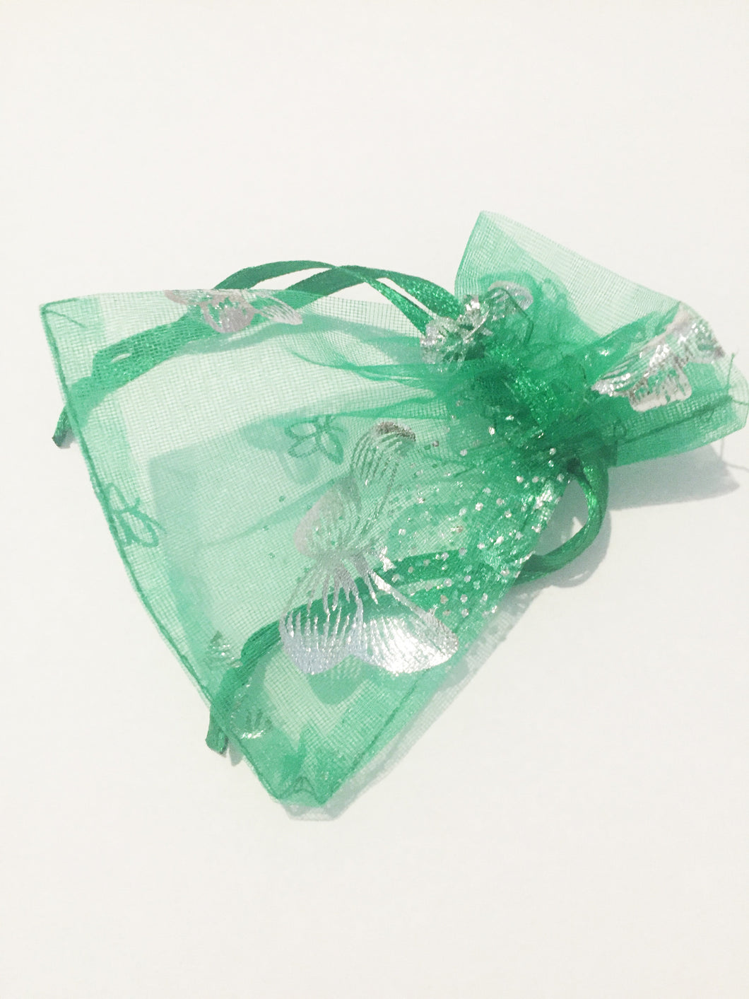 Green Butterfly Organza Jewellery Pouch/ Gift Bag