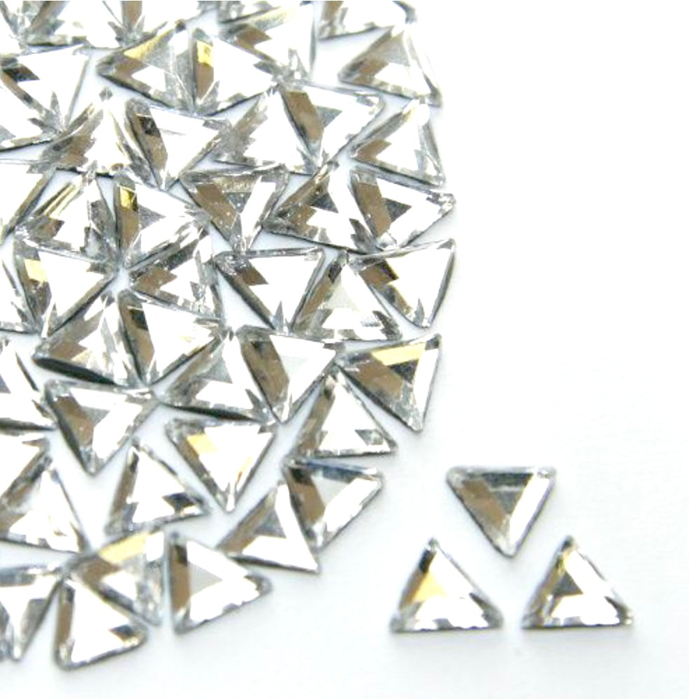 Crystal Clear Triangle Rhinestone (Hotfix/ Iron on/ Glue On)