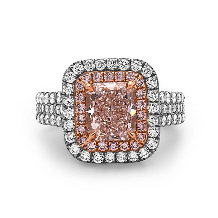 Charles Krypell Radiant Cut Pink Diamond Ring