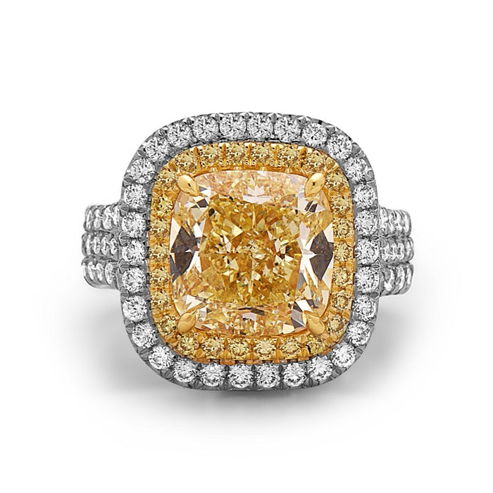 Charles Krypell Cushion Cut Yellow Diamond Ring