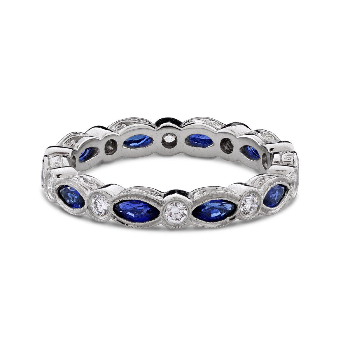 art bands wg band gemstone with diamond in pave blue gold anniversary white set deco wedding nl sapphire jewelry round